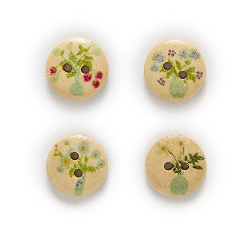 BarFeer 50Pcs 2 Hole Vase Flowers Natural Round Wood Buttons Sewing Scrapbooking Decor Home Clothing (Waisted Vase)