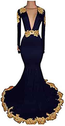 b94a95c74d YHFDRESS Mermaid Gold Lace Applique Mermaid Prom Dresses with Long Sleeve  Backless Deep V Neck Evening