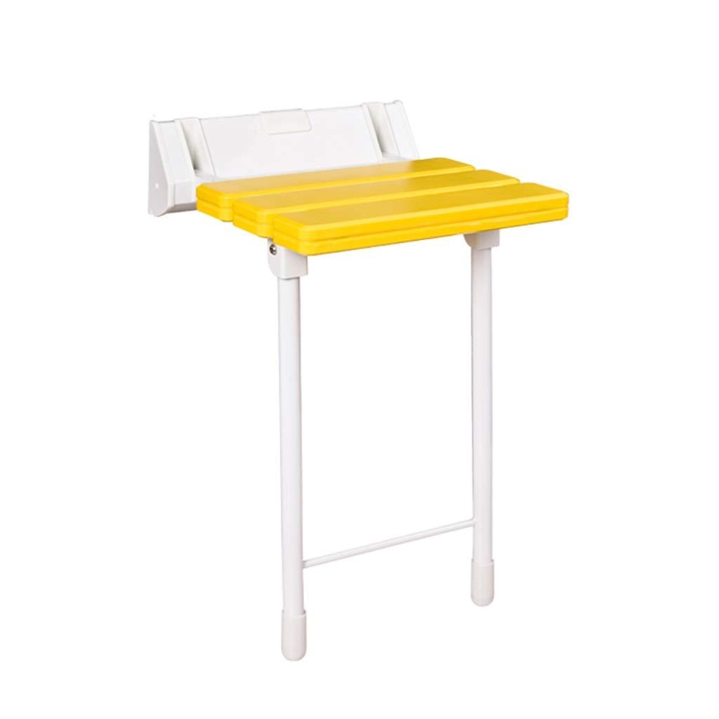 シャワースツールバスルーム椅子バススツール折りたたみ式壁掛け抗菌モバイル補助座席バスルームパンチング最大(多色) (色 : イエロー いえろ゜) B07JM6YS87 イエロー いえろ゜ イエロー いえろ゜