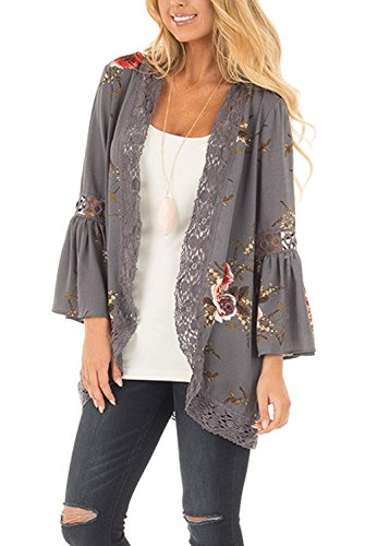 - Womens Floral Print Loose Puff Sleeve Kimono Cardigan Lace Patchwork Cover Up Blouse M Grey