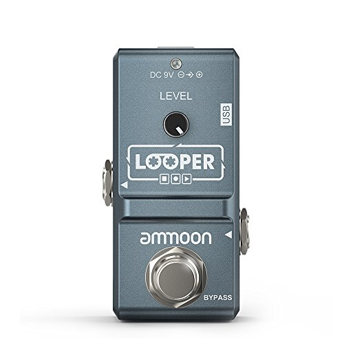ammoon I1995332 Nano Loop Electric Guitar Effect Pedal Looper True Bypass Unlimited Overdubs 10 Minutes Recording with USB Cable