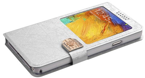 MyBat Embossed Book-Style My Jacket Wallet for Samsung N900A Galaxy Note 3 - Retail Packaging - White