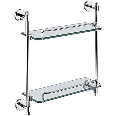 MEI Bathroom Shelf Chrome Wall Mounted 41x13x43cm(16''x5.1''x16.9'') Brass Contemporary by MEI