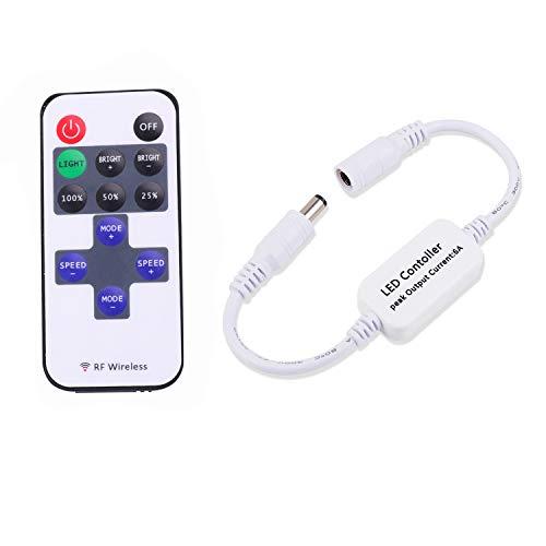 Updated Mini Remote Controller for Single Color LED Strip Lights, RF Dimmer for 12V DC LED Ribbon, Shelf Lights, Wireless Remote Control for Dimmable 3528 5050 Under Cabinet Puck Lights(Single Color)