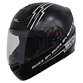 Steelbird ABS Buzz Reflective Full Face Helmet with Clear Visor (SBA-1, Large 600 mm, Dashing Black)