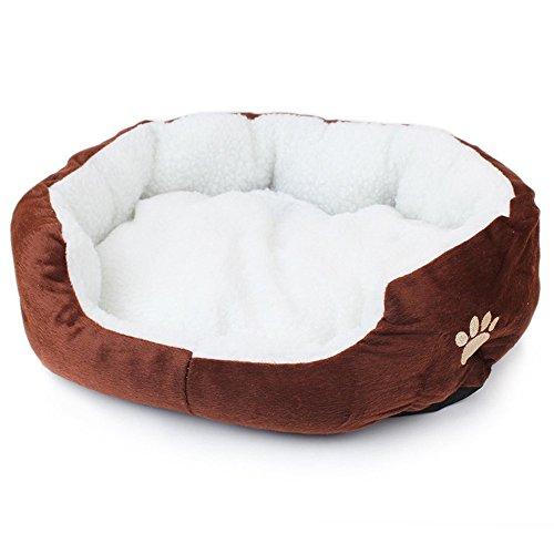Hecentur Pet Dog Warm Bed Puppy Cat Soft Fleece House Plush Cozy Nest Mat Pad (Coffee)