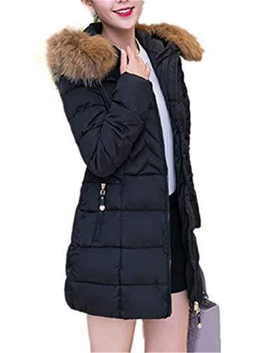 Saoye Con Sleeve Fashion Parka Hood Outdoor Addensare Schwarz Down Fit Coat Dimensioni Caldo Jacket Donna Inverno Pelliccia Lungo Vestiti Grandi Slim rrW8q7PT