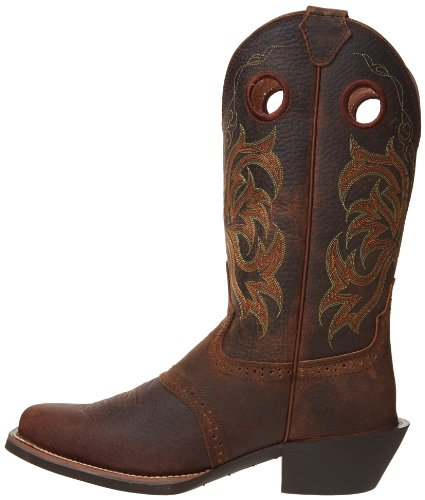 "Justin Boots Men's Stampede Collection 12"" Punchy Boot Wide Square Single Stitch Toe,Dark Brown Rawhide,10 D US"