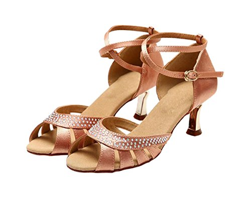 Crystals Latin Wedding 5cm Sandals KS123 5 Ballroom Nude Heel Satin Women's Miyoopark Salsa I0xEUgqUw