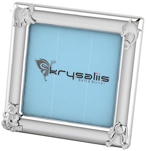 Krysaliis Sterling Silver Animal Square Frame  - Blue Stand