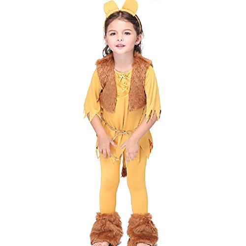 DREAMOWL Girls Lion Costume Kids Halloween Fancy Dress Animal (6-7 Years) ()