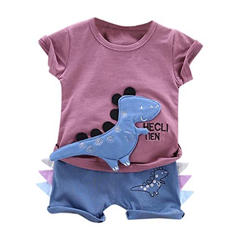 Toddler Infants 2PC Outfits Sets Cartoon Letter Dinosaur Print T Shirt Tops Shorts Outfits Set Memela (Purple, 2-3Years) -