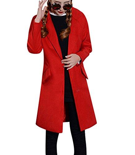 Jacket Longue Mlange Chaud Parka Femmes Mi laine d'hiver Rouge Manteaux Parkas Manteau Dcontracte de Veste YqORX