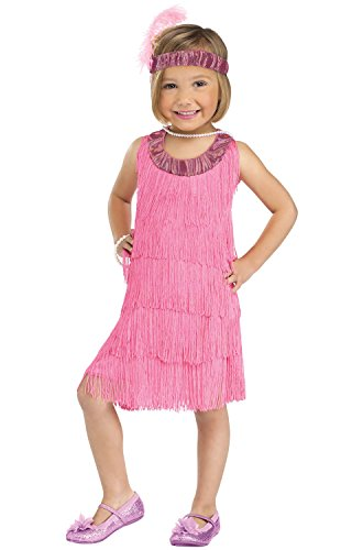 Fun World Costumes Baby Girl's Flapper Toddler Costume, Pink, Large 3T-4T]()