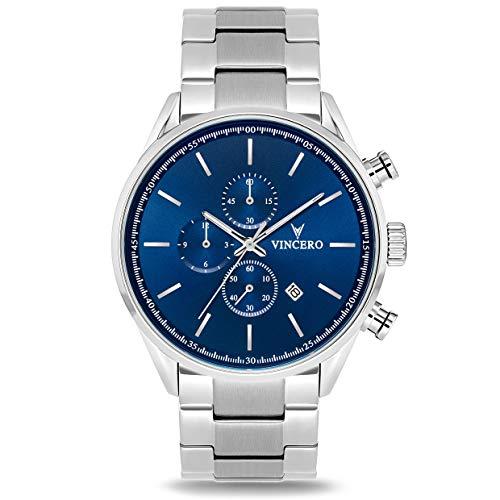 Vincero Luxury Men's Chrono S Wrist Watch - Steel Watch Band - 43mm Chronograph Watch - Japanese Quartz Movement (Blue/Silver)