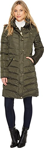 MICHAEL Michael Kors Womens Snap Front 4 Zip Pocket Down M821955T Olive XL One Size (Front Zip Pocket)