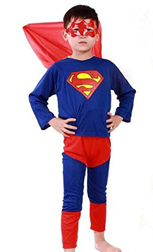 Superman Cosplay Costumes (Halloween Superhero Costumes for Boys Superman Child's Fancy Dress Party Cosplay)