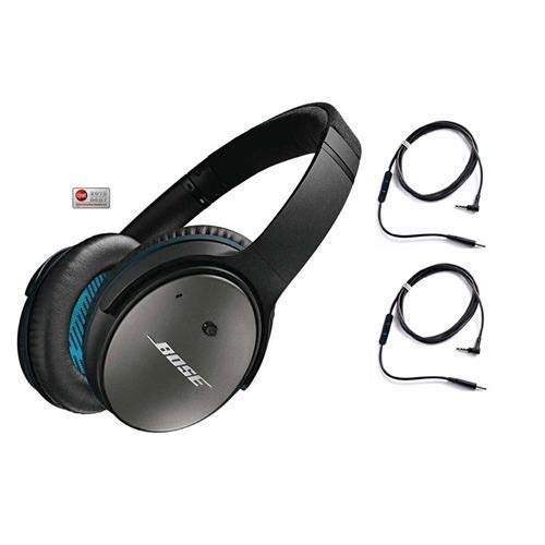 Bose QuietComfort 25 Acoustic Noise Cancelling Headphones for Android & Apple Devices - Black - Bundle (Best Acoustic Noise Cancelling Headphones)