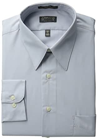 Arrow Mens Poplin Dress Shirt, Seal, 18/32-33