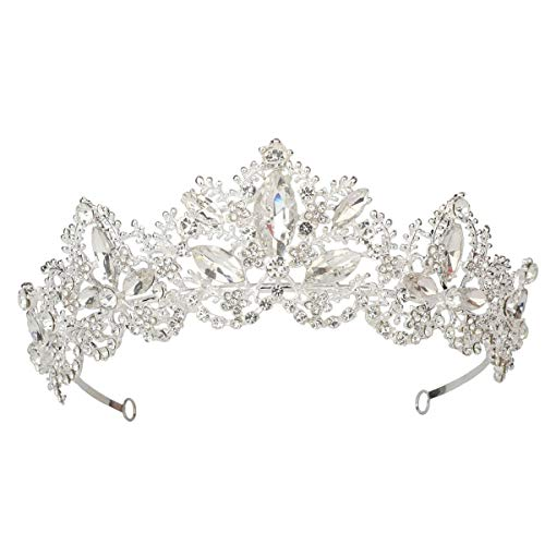 Sppry Women Tiara - Baroque AB Crystal Crown for Bridal Queen Princess Girls at Wedding Birthday Pageant Party (Silver)