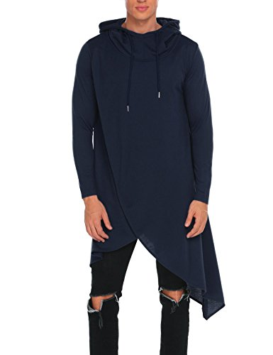 COOFANDY Mens Casual Hooded Poncho Cape Cloak Irregular Hem Hoodie Pullover,Navy - Mens Cape
