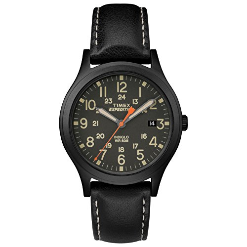 Timex Unisex TW4B11200 Expedition Scout 36 Black Leather Strap Watch (Watch Quartz Expedition)