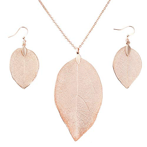 Style Rose Earrings - Leaf Pendant Necklace and Dangle Earrings Jewelry Set Rose Gold Plated Hypoallergenic Fashion Long Chain Necklace with Silver Earrings Hanging-Style Gifts for Women Filigree (Rose Gold Set)