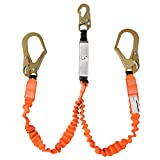 WELKFORDER Double Leg 6-Foot Fall Protection Shock Absorber Stretch Safety Lanyard with Snap & Rebar Hook Connectors ANSI Z359.13-2013 Complaint