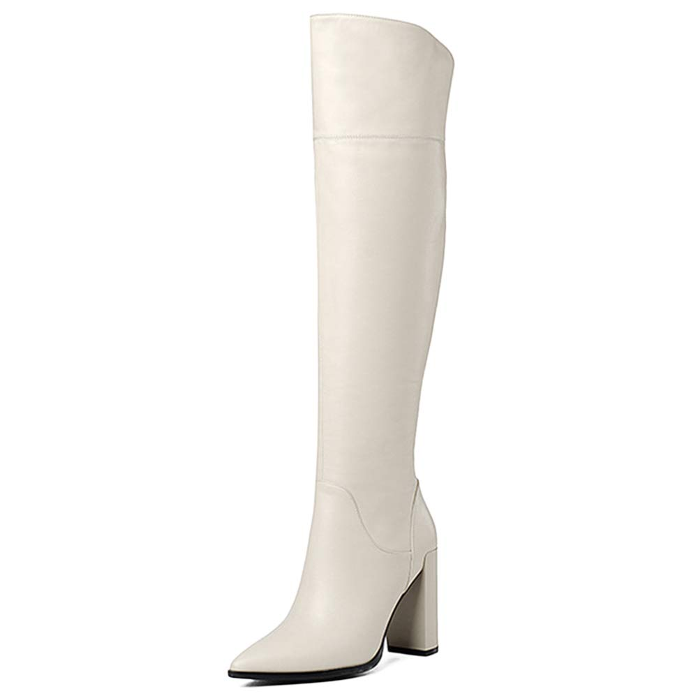 GBRALX Frauen Echtes Leder Winter Hohe Stiefel Sexy High Heel Overknee Stretch Stiefel Outdoor Wandern Reitstiefel