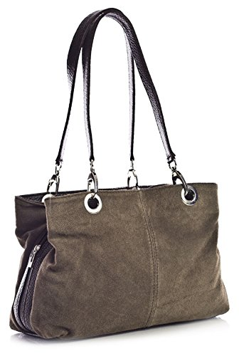 Big Handbag Shop Womens Small Multi Zip Pockets Suede Leather Shoulder Bag (3_MP Deep Taupe Brw)