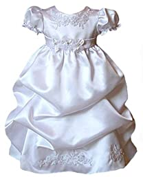 Satin Puffed Skirt Christening Dress 12-18M Lg (kid B574)(White)