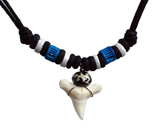Exoticdream Real Shark Tooth Necklace Surfer Hawaiian Beach Boys Girls Men - Color White Bone (blue II)