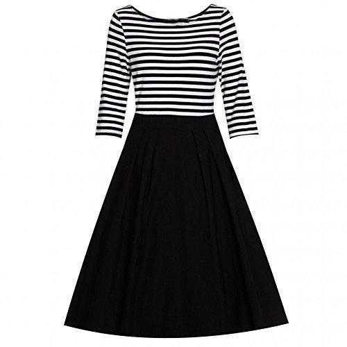 AmyStylish Splice White Women's Dress Black Work Homecoming to Wear Vintage Striped zOOqrt