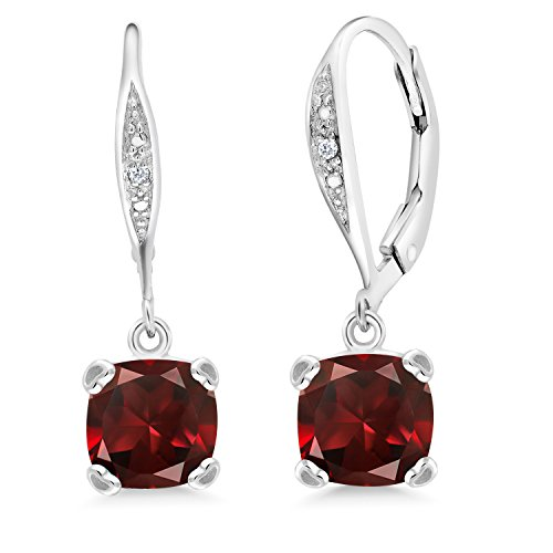 Gem Stone King 925 Sterling Silver Red Garnet and White Diamond Earrings, Cushion Cut Gemstone Birthstone 3.71 Cttw
