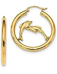 14k Yellow Gold Dolphins Hoop Earrings Ear Hoops Set Fine Jewelry Gift Set For Women Heart