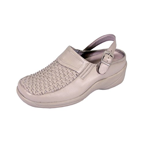 24 Hour Comfort FIC Madison Women Wide Width Decorative Pattern Clog with Buckle (Size/Measurement Guide) Beige