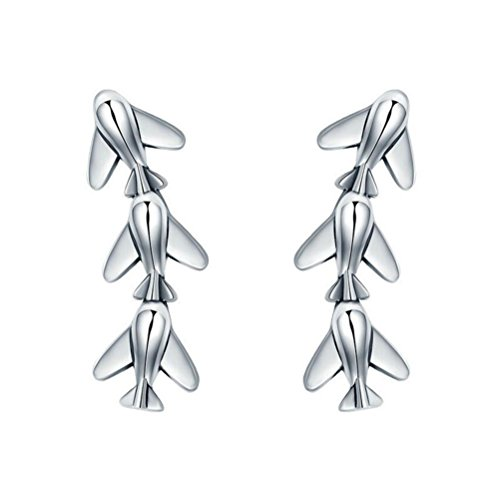 925 Sterling Silver Small Airplane Stud Earrings Women Fashion -