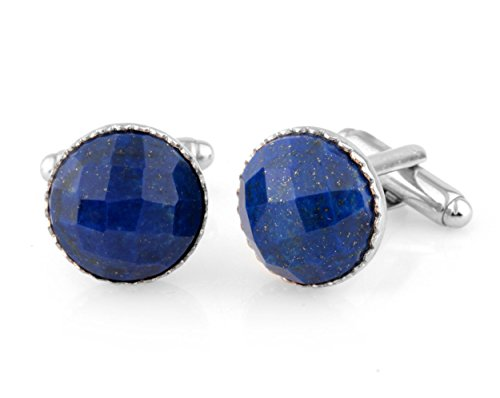 Round 15mm Checker Board Cut Lapis Cufflinks for Mens,Top Quality Best Price - Genuine Lapis Cufflinks