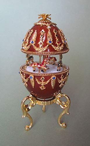 - Enameled Hand Painted Faberge Egg Style Decorative Hinged Jewelry Trinket Box Unique Gift Home Decor, Authentic Goose Egg, Music Box,Paganini, Kingspoint Design #30449,
