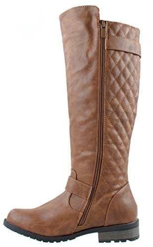 Review Forever Mango-21 Women's Winkle Back Shaft Side Zip Knee High Flat Riding Boots Tan 9
