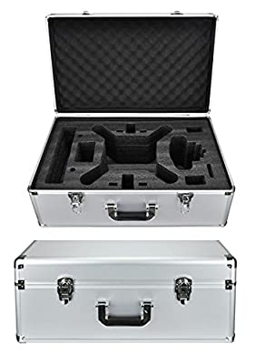 Protective Aluminum Hard Traveling Case for DJI Phantom 4 DJI Phantom 3 Standard, Advanced Quadcopter Drone with 2.7K HD Video Camera, DJI Phantom 3 Professional 4K UHD Video Camera Drone (Silver) by HDStars