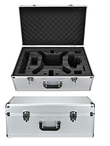 Protective Aluminum Hard Traveling Case for DJI Phantom 4 DJI Phantom 3 Standard, Advanced Quadcopter Drone with 2.7K HD Video Camera, DJI Phantom 3 Professional 4K UHD Video Camera Drone (Silver)