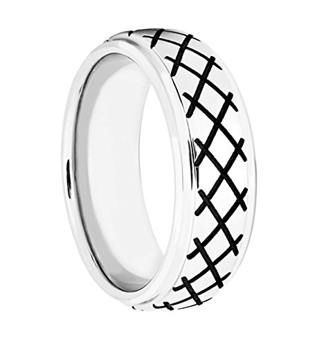 Men's Cobalt, Black Cross Hatch Design 8mm Comfort-Fit Band, Size 9.5 by The Men's Jewelry Store