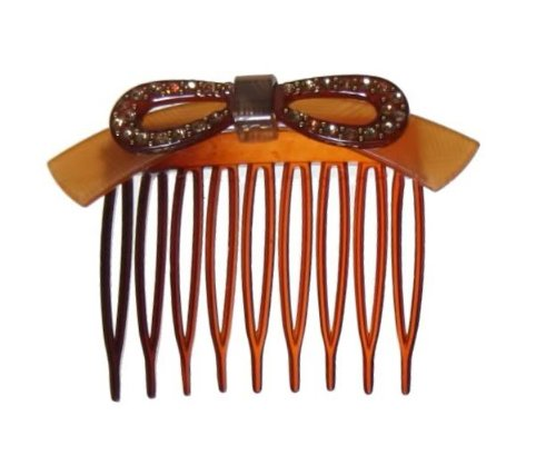 Caravan Handmade Comb Decorated With Layered Detailed Plastic Bow And 30 Rhinestones And Studs
