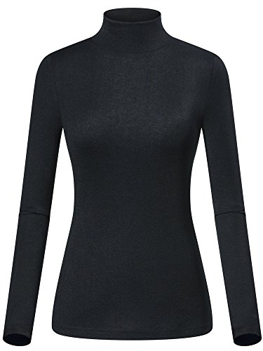 Black Mock Neck Shirt - GUBERRY Women Underscrub Long Sleeve Knitted Mock Neck Top(Black,S)