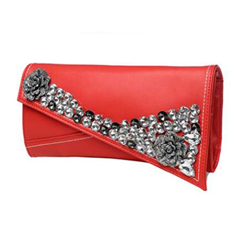 and Bag Wedding Evening Party Womens Genuine Handbags Envelope Bags Gshe Red Clutch Leather for Wristlet Purses gOqwxT4S