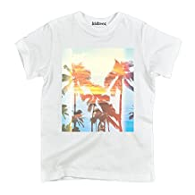 Palm Tree Retro Sunset Ocean Beach Surf Outdoor Vacation Novelty Toddler Shirt