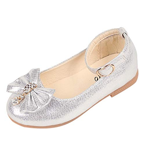 Girl's Sandals Toddler Kids Girls Ballet Mary Jane Flat Shoes Bowknot Crystal Dance Shallow Single Shoes Silver