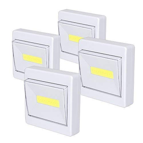 Closet Light, Super Bright, Battery Operated, Stick Anywhere, 200 LM Cob Led Light Switch Nightlight, Tap Lights for Closet, Shed, Attic, Emergency (4 Pack) by TBTeek