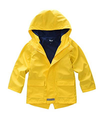 - Hiheart Boys Girls Waterproof Rain Jacket Fleece Lined Softshell Coat Yellow 4/5